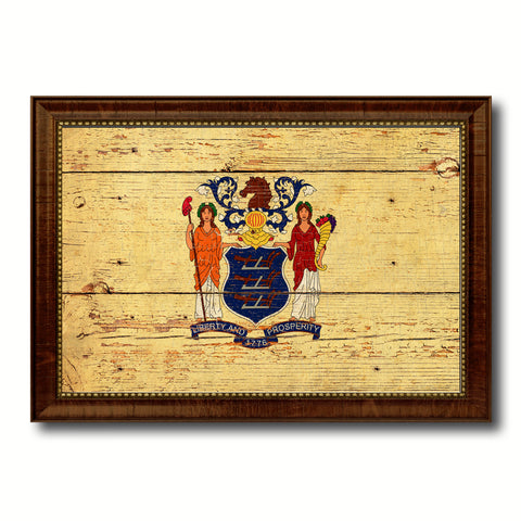 New Jersey State Vintage Flag Canvas Print with Brown Picture Frame Home Decor Man Cave Wall Art Collectible Decoration Artwork Gifts