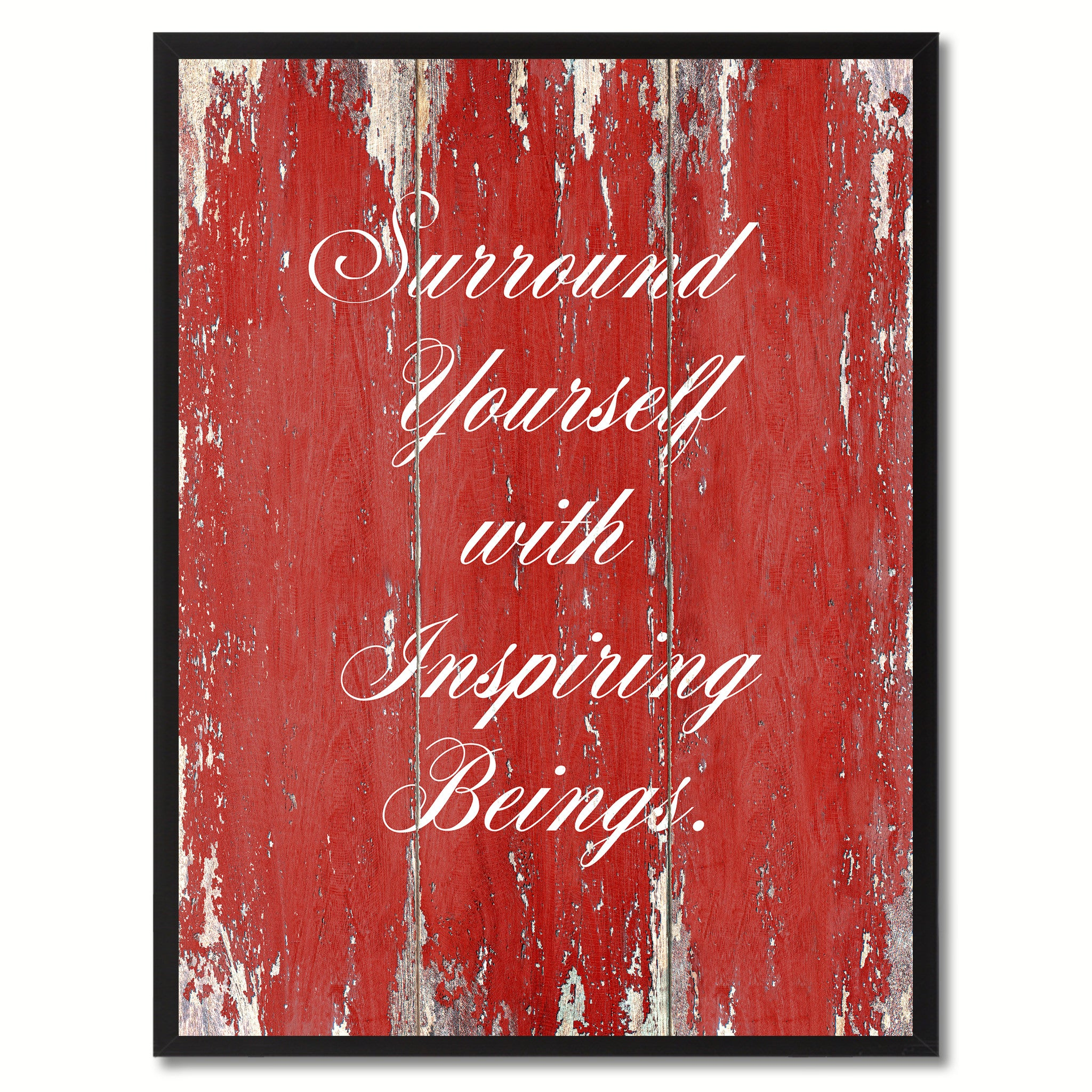 Surround Yourself With Inspiring Beings Saying Canvas Print, Black Picture Frame Home Decor Wall Art Gifts