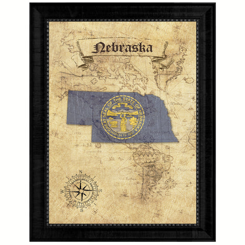 Nebraska State Vintage Map Gifts Home Decor Wall Art Office Decoration