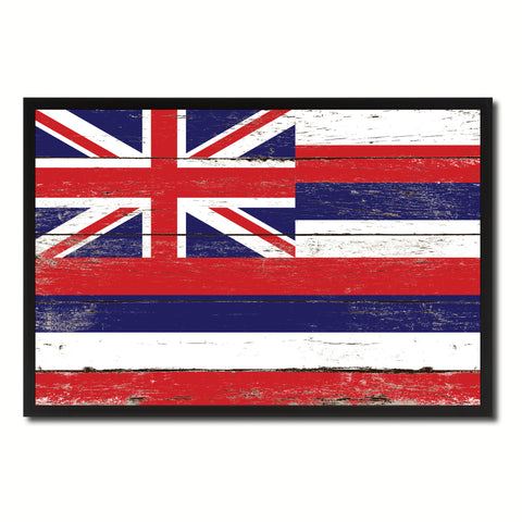 Hawaii State Flag Vintage Canvas Print with Black Picture Frame Home DecorWall Art Collectible Decoration Artwork Gifts