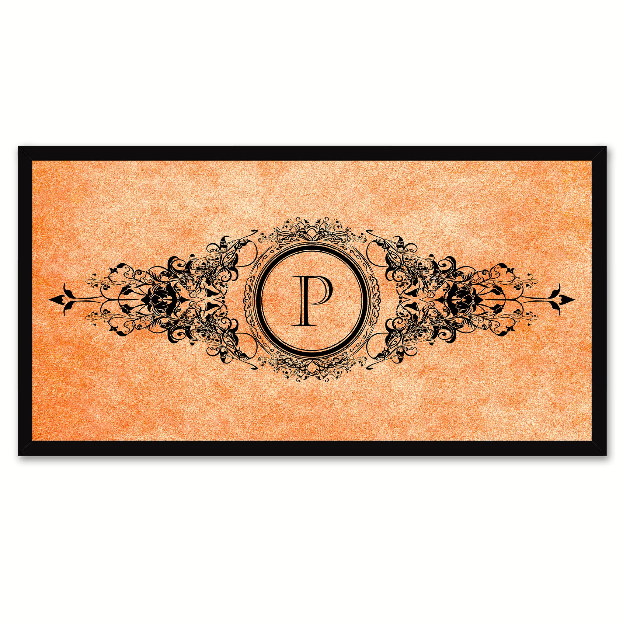 Alphabet Letter P Orange Canvas Print, Black Custom Frame