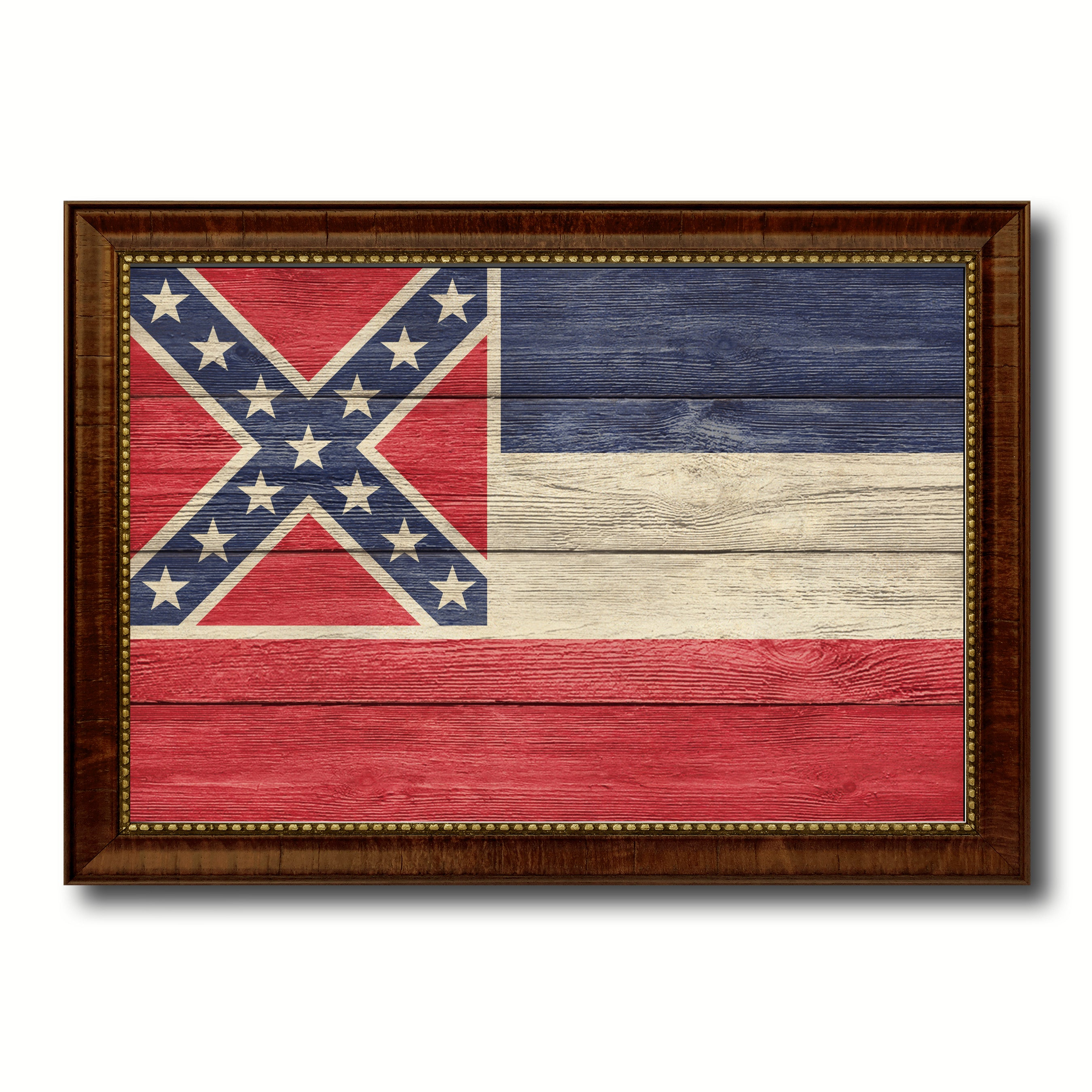 Mississippi State Flag Texture Canvas Print with Brown Picture Frame Gifts Home Decor Wall Art Collectible Decoration