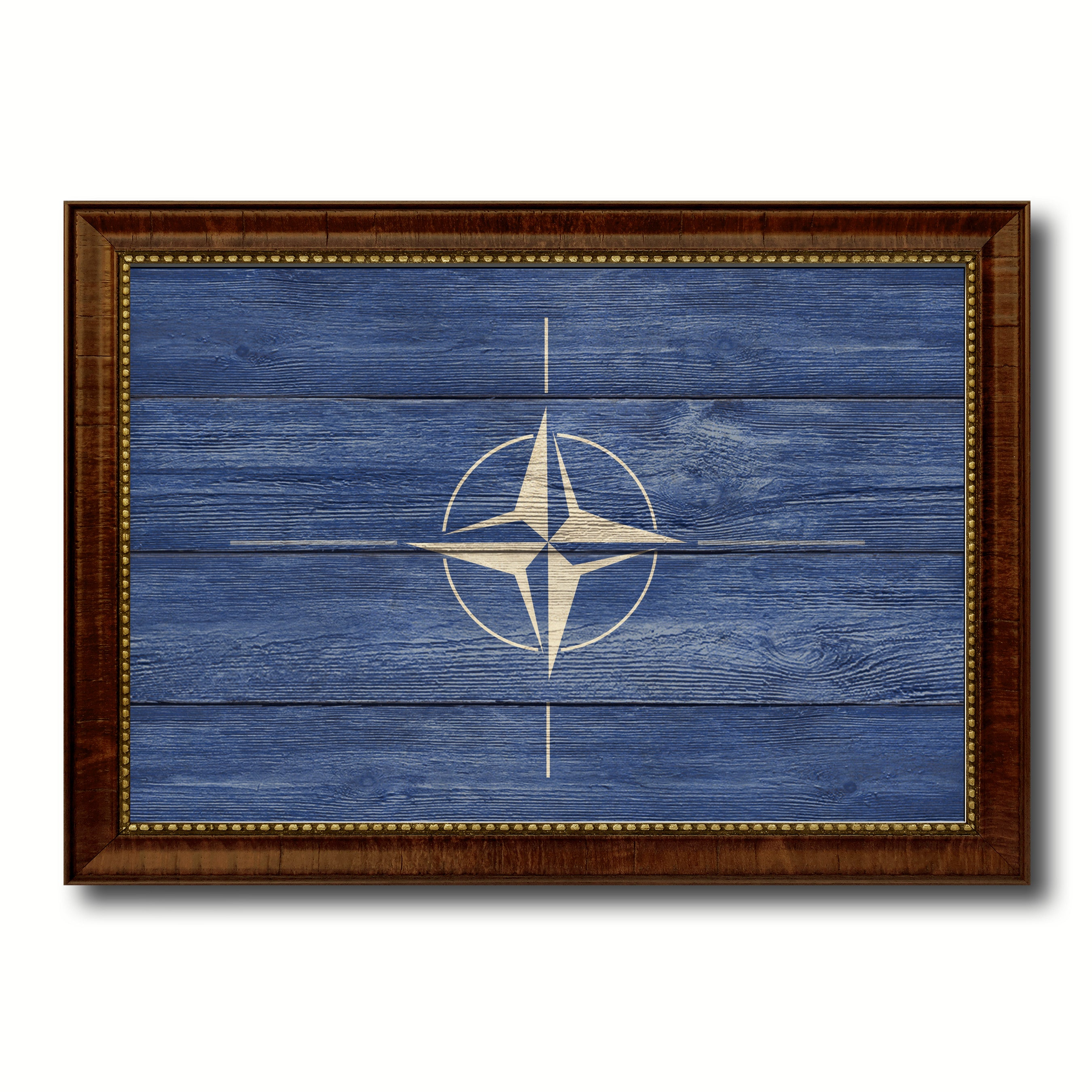 Nato Country Flag Texture Canvas Print with Brown Custom Picture Frame Home Decor Gift Ideas Wall Art Decoration
