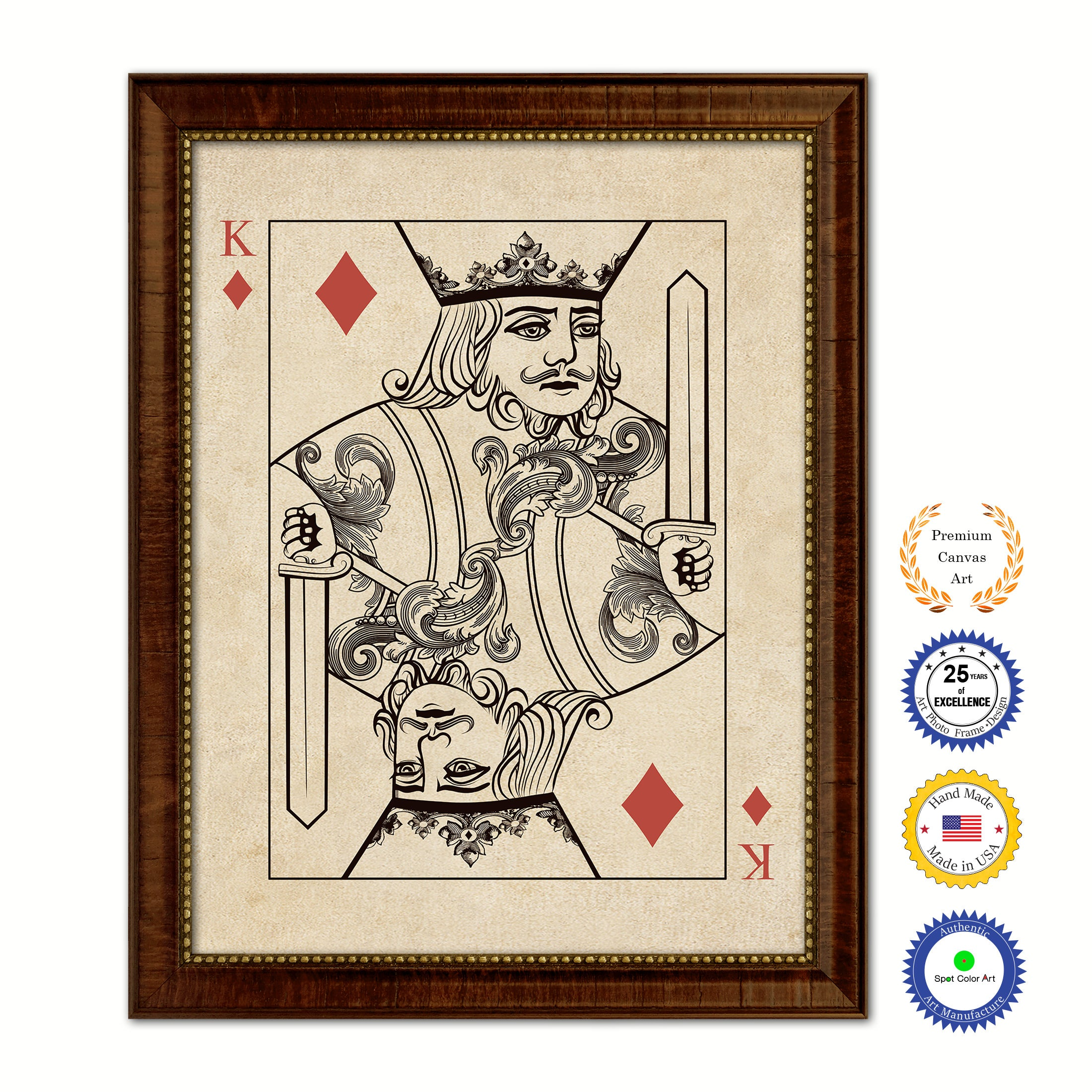King Diamond Poker Decks of Vintage Cards Print on Canvas Brown Custom Framed