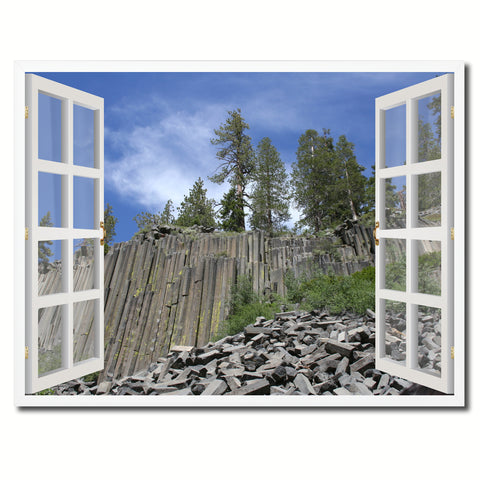 Devils Tower National Monument Picture French Window Framed Canvas Print Home Decor Wall Art Collection