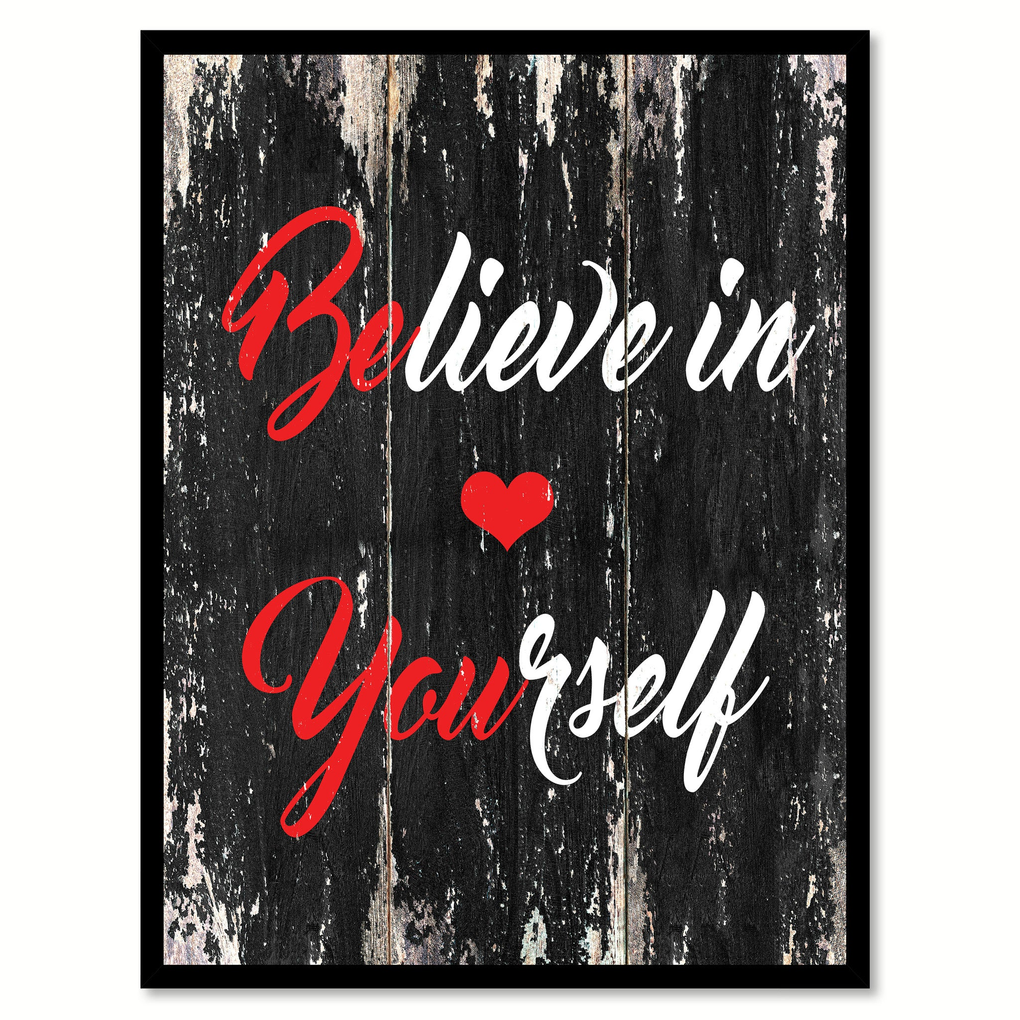 Believe in yourself Motivational Quote Saying Canvas Print with Picture Frame Home Decor Wall Art