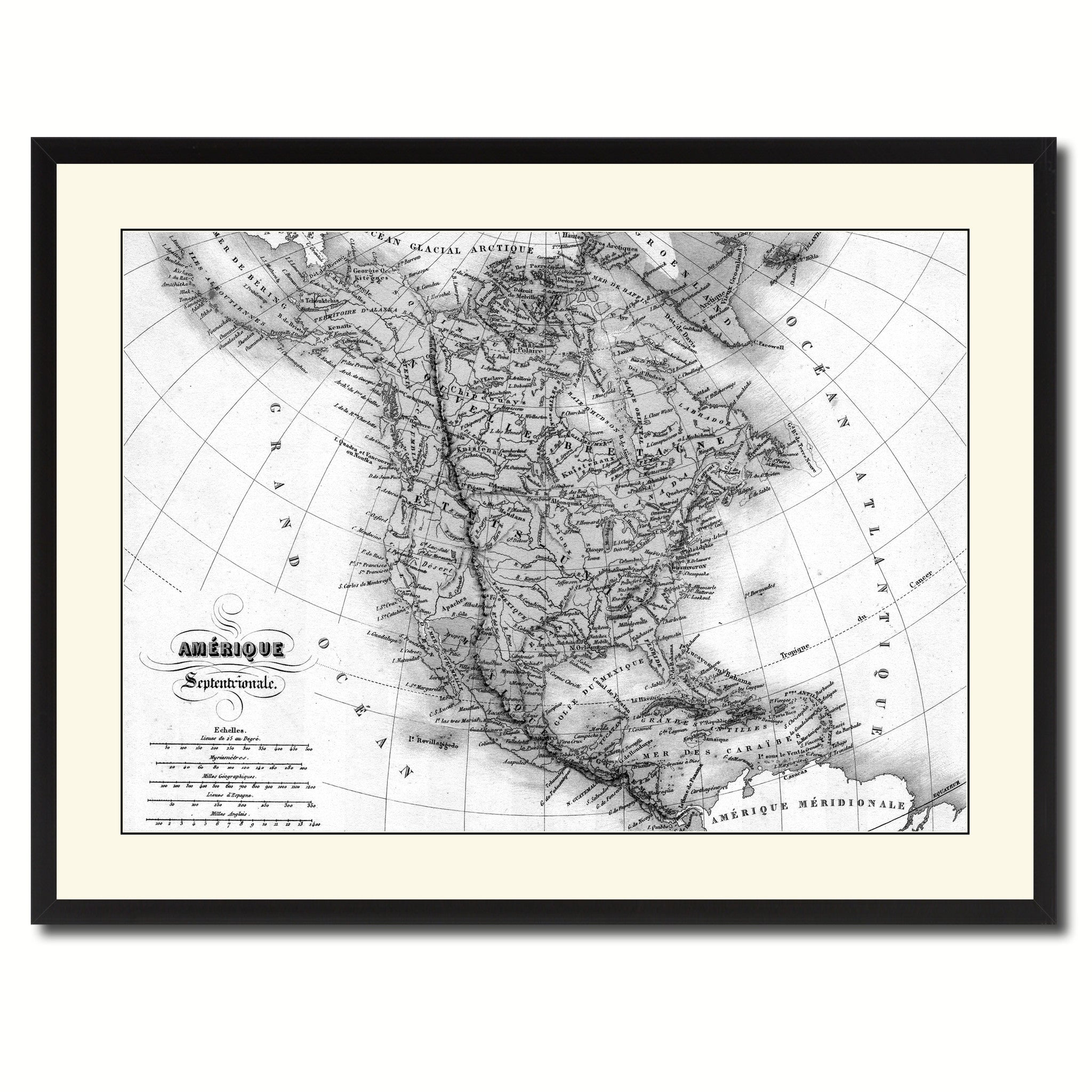 North America Canada Mexico Vintage B&W Map Home Decor Wall Art ...