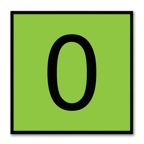 Number 0 Green Canvas Print Black Frame Kids Bedroom Wall Décor Home Art