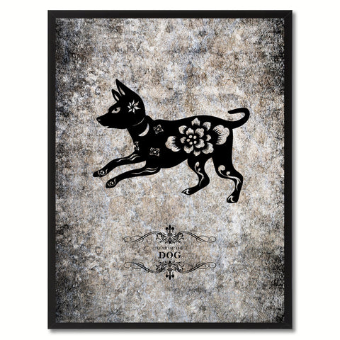 Zodiac Dragon Horoscope Black Canvas Print Black Custom Frame Home Decor Wall Art