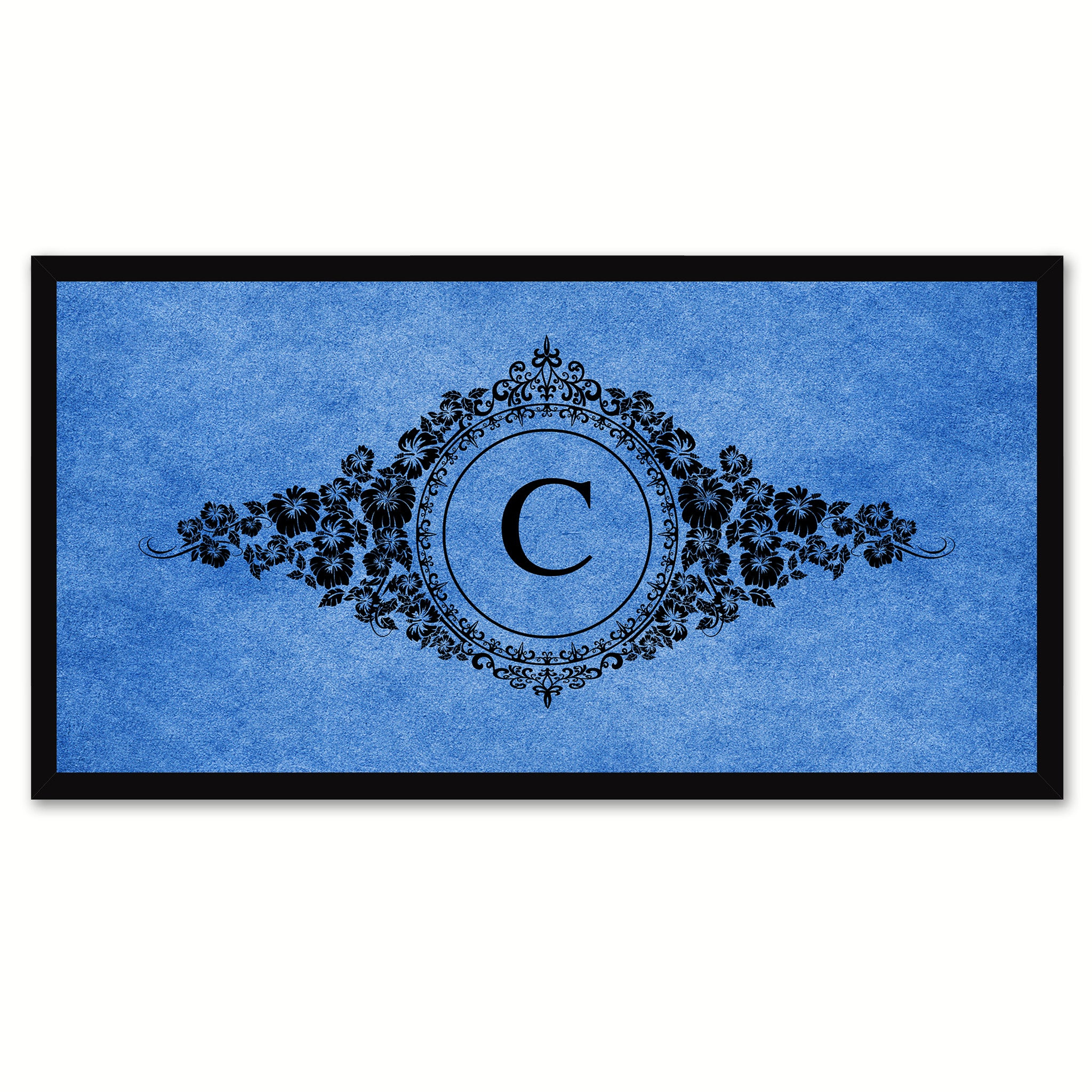 Alphabet Letter C Blue Canvas Print, Black Custom Frame