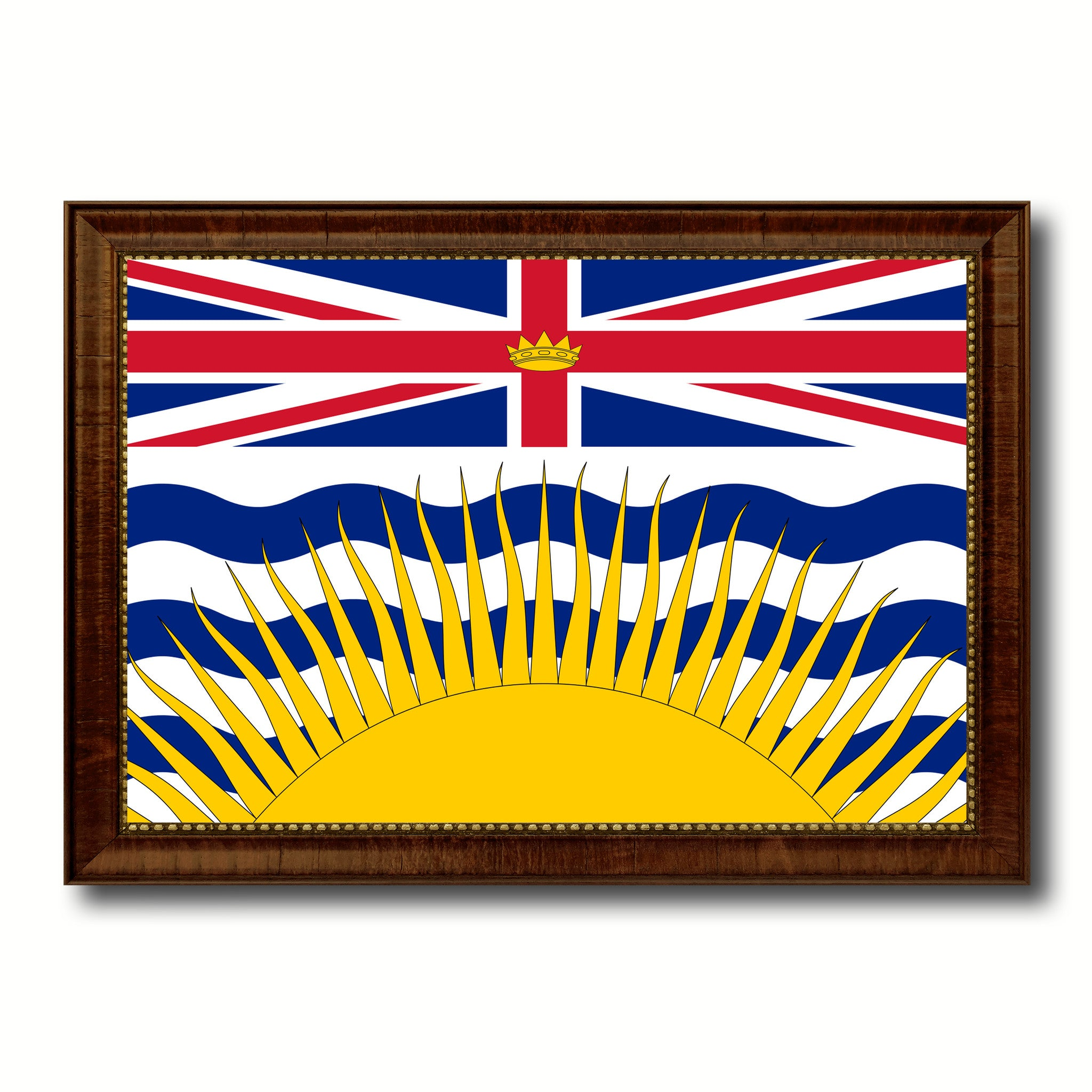 British Columbia Province City Canada Country Flag Canvas Print Brown Picture Frame
