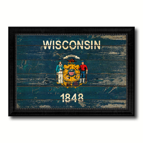 Wisconsin State Vintage Flag Canvas Print with Black Picture Frame Home Decor Man Cave Wall Art Collectible Decoration Artwork Gifts