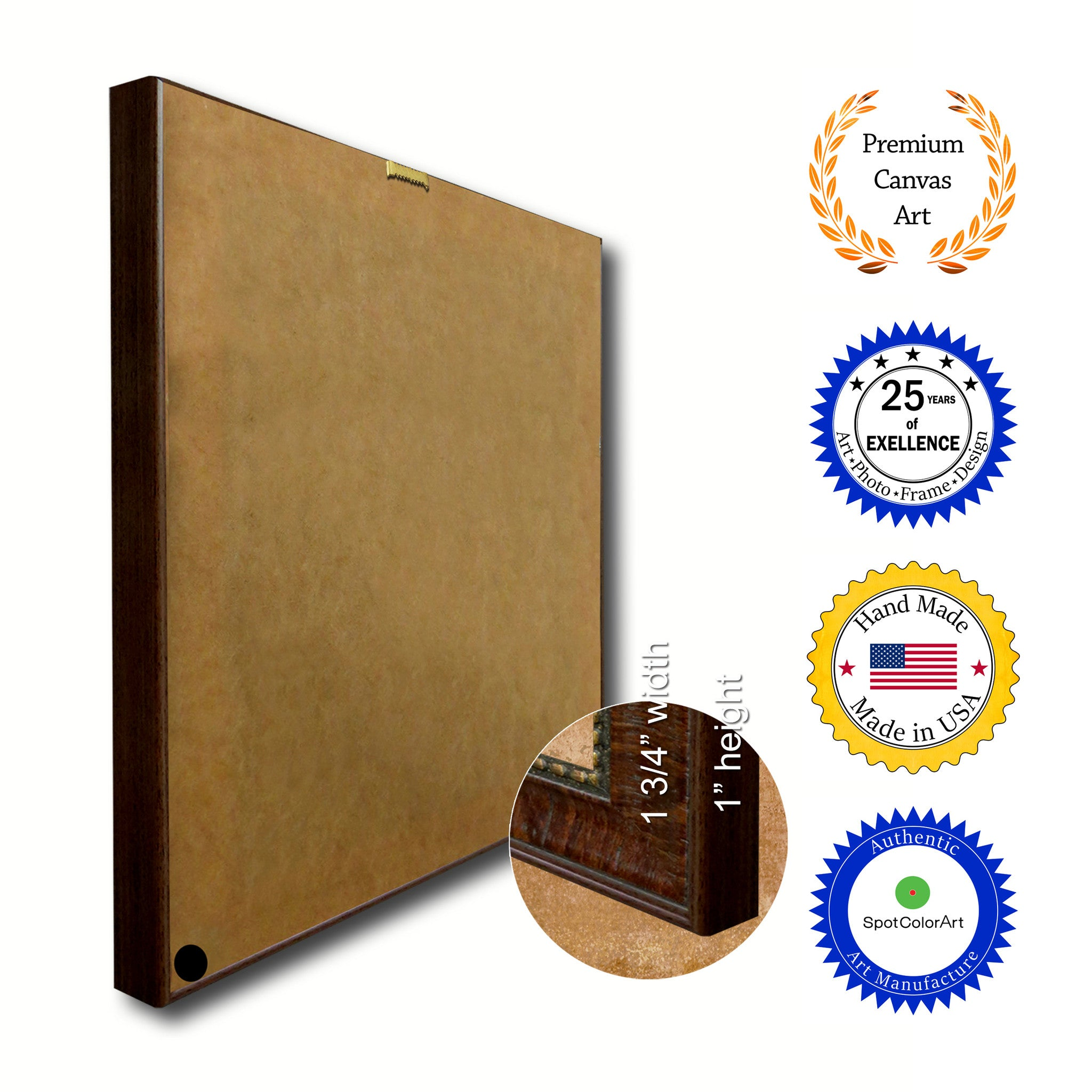 Columbus City Indiana State Flag Canvas Print Brown Picture Frame