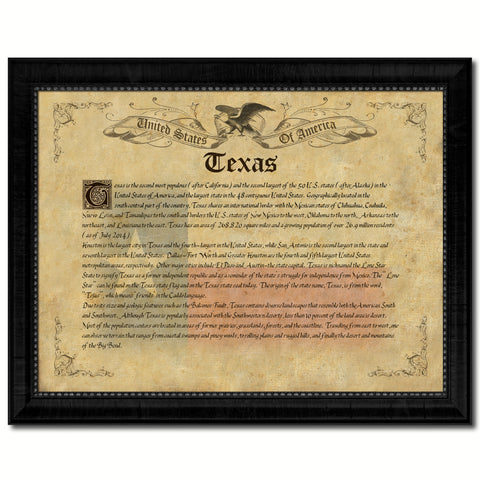 Texas Vintage History Flag Canvas Print, Picture Frame Gift Ideas Home Décor Wall Art Decoration