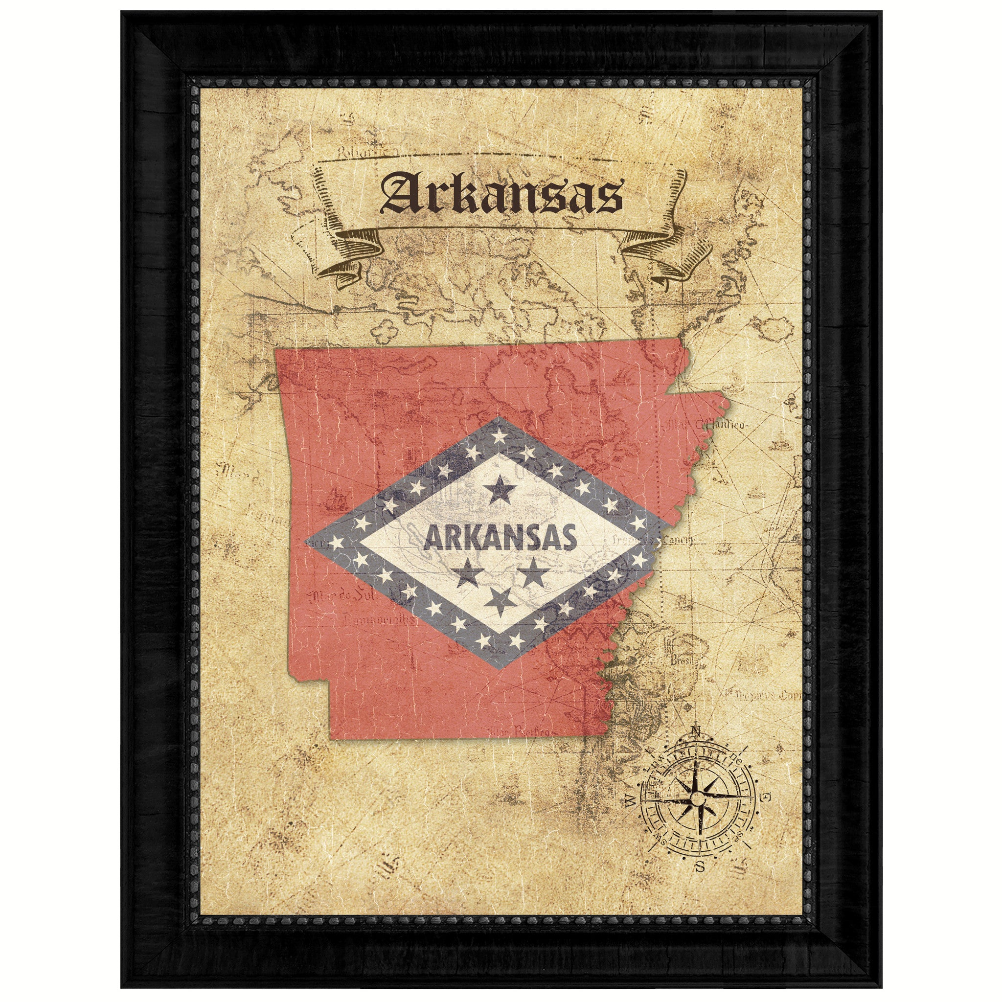Arkansas State Vintage Map Gifts Home Decor Wall Art Office Decoration