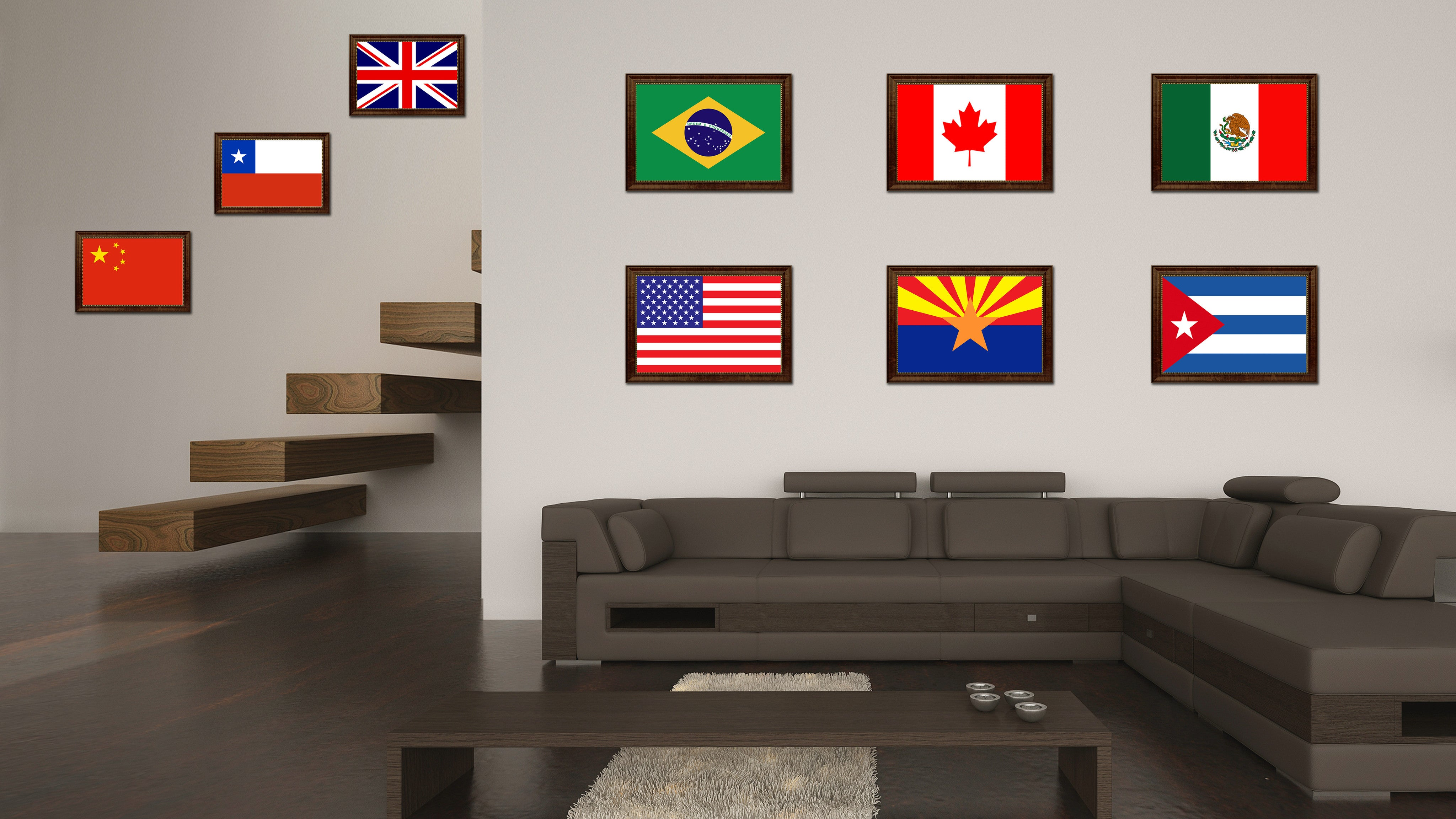 Arizona State Flag Canvas Print With Custom Brown Picture Frame Home Decor Wall Art Decoration Gifts