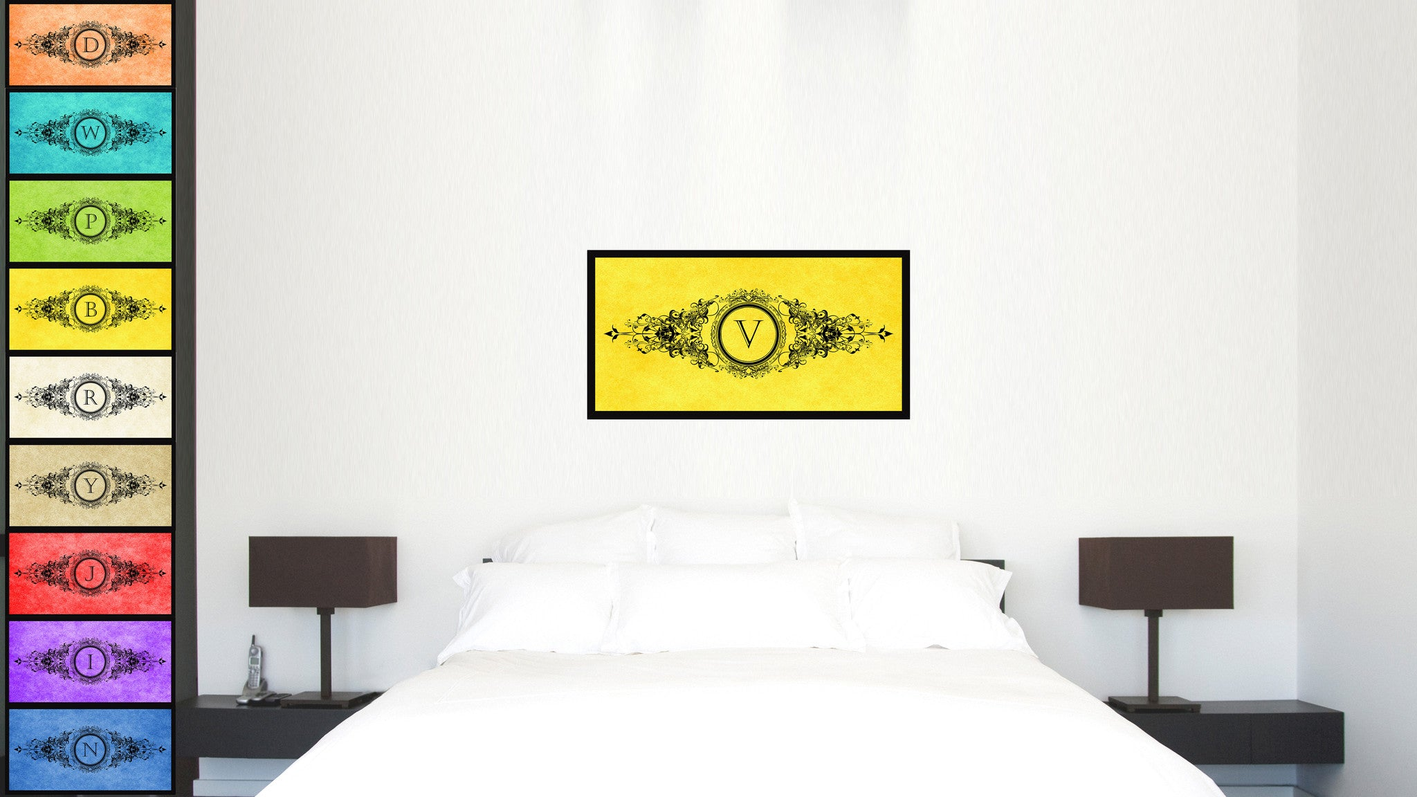 Alphabet Letter V Yellow Canvas Print, Black Custom Frame