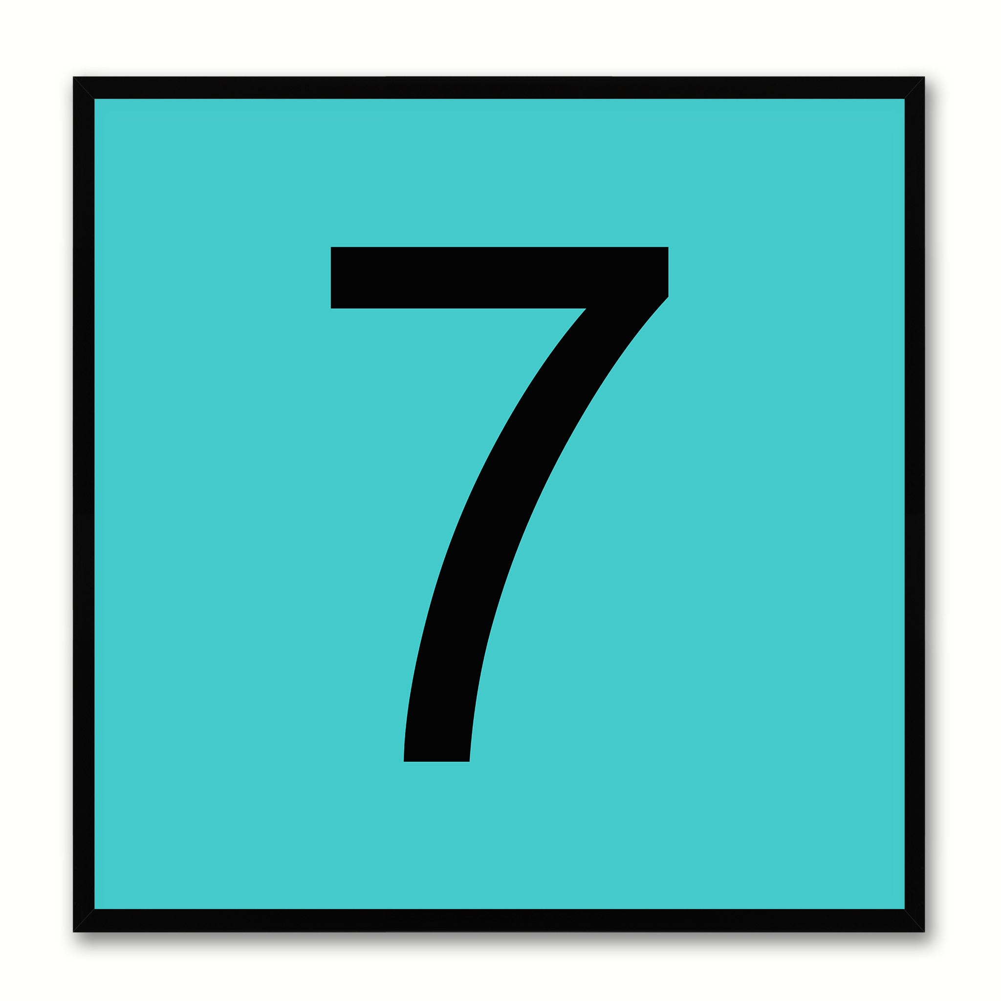 Number 7 Aqua Canvas Print Black Frame Kids Bedroom Wall Décor Home Art