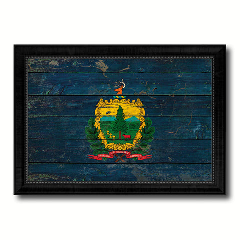 Vermont State Vintage Flag Canvas Print with Black Picture Frame Home Decor Man Cave Wall Art Collectible Decoration Artwork Gifts