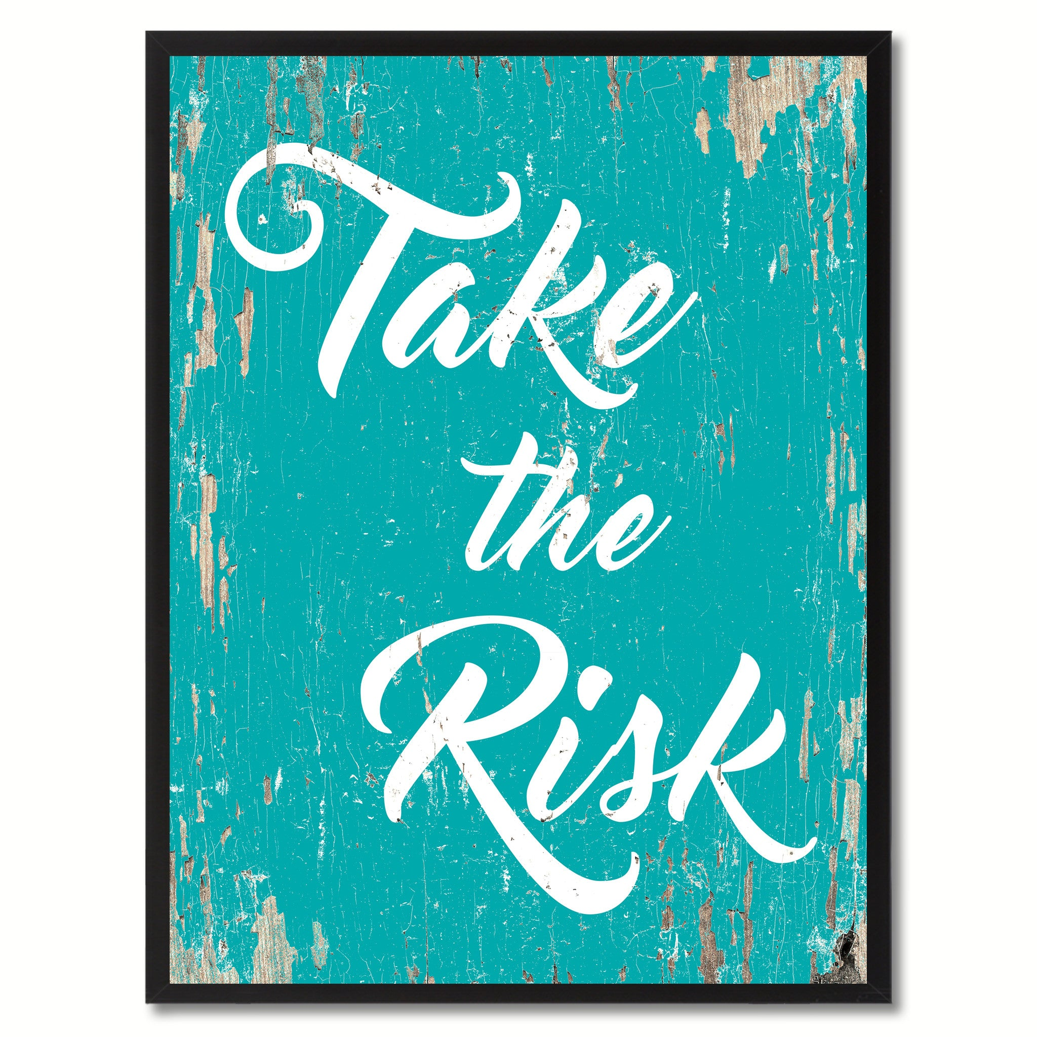 Take The Risk Saying Canvas Print, Black Picture Frame Home Decor Wall Art Gifts