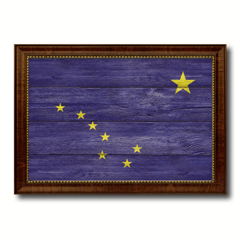 Alaska State Flag Texture Canvas Print with Brown Picture Frame Gifts Home Decor Wall Art Collectible Decoration