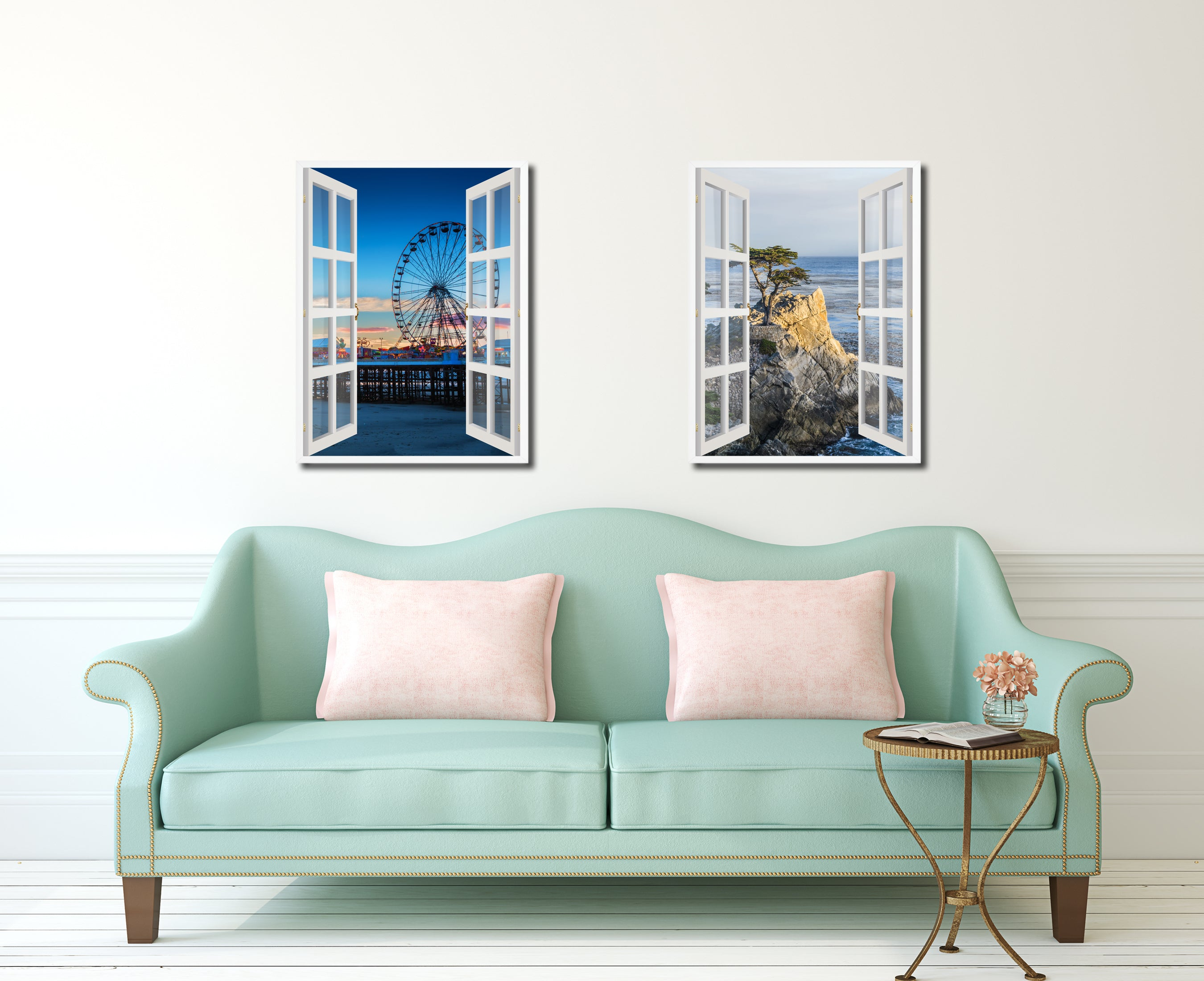 Sunset View Ferris Wheel Picture French Window Canvas Print with Frame Gifts Home Decor Wall Art Collection