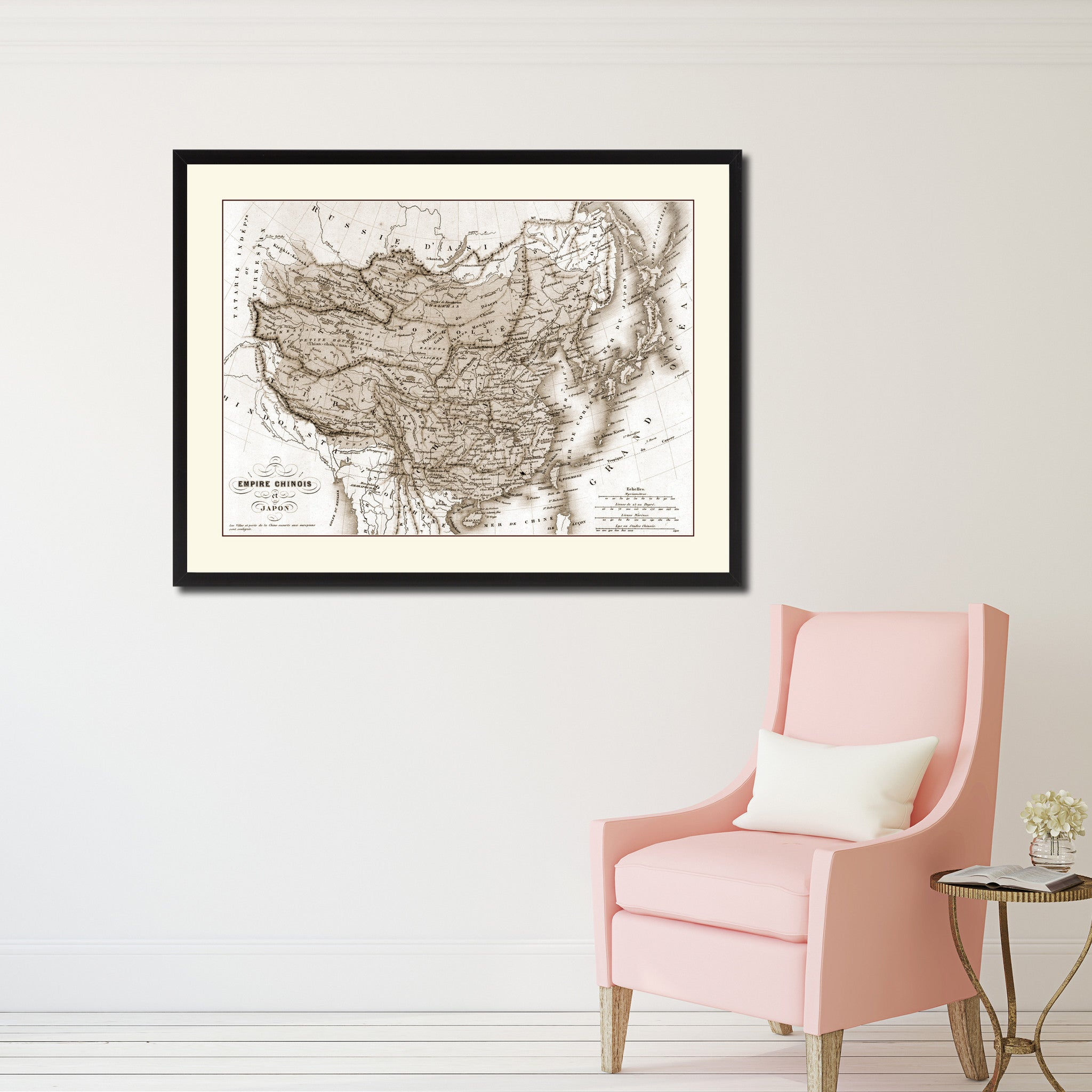 China Japan Korea Vintage Sepia Map Canvas Print, Picture Frame Gifts Home Decor Wall Art Decoration