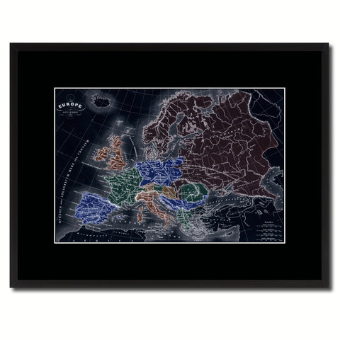 Ancient Europe Vintage Vivid Color Map Canvas Print, Picture Frame Home Decor Wall Art Office Decoration Gift Ideas