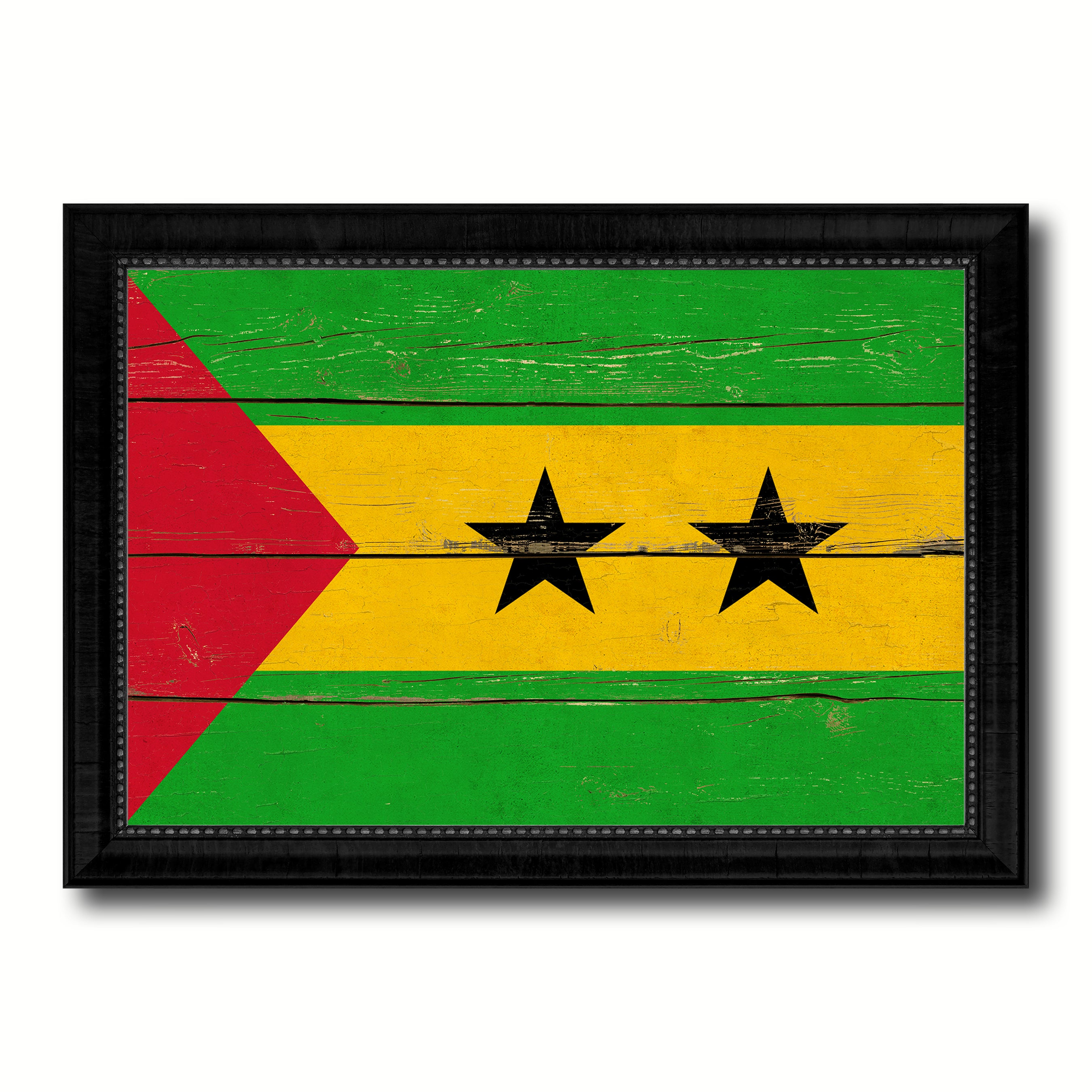 Sao Tome & Principe Country Flag Vintage Canvas Print with Black Picture Frame Home Decor Gifts Wall Art Decoration Artwork