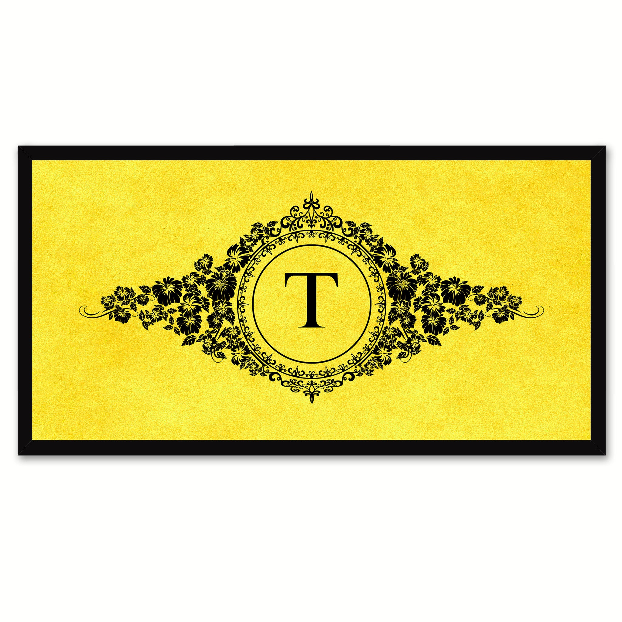 Alphabet Letter T Yellow Canvas Print, Black Custom Frame