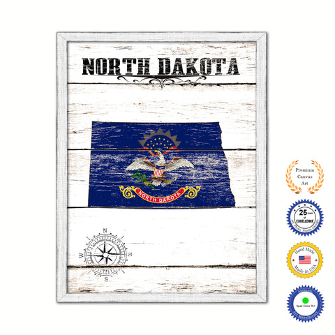 North Dakota Flag Gifts Home Decor Wall Art Canvas Print with Custom Picture Frame