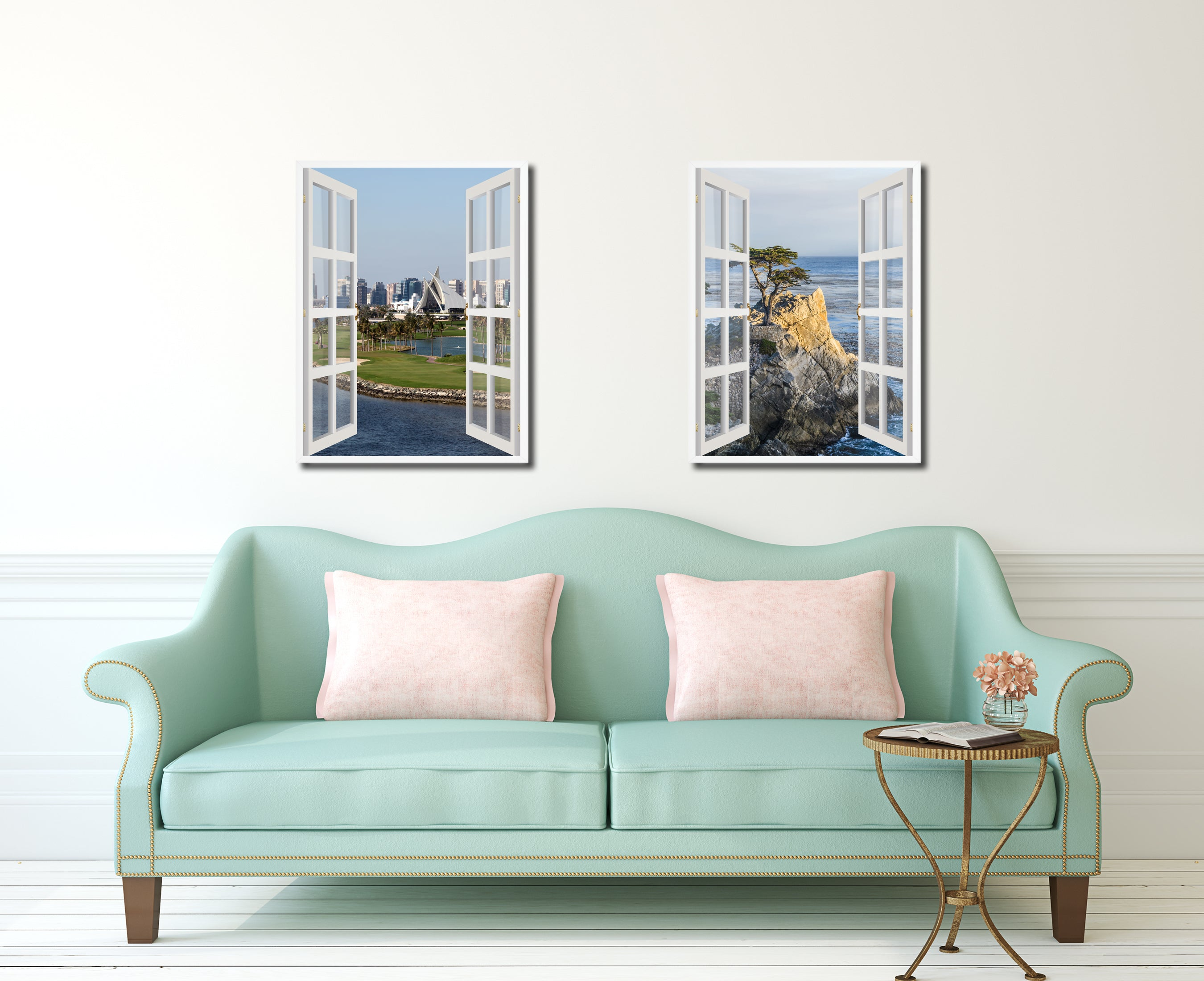 Dubai Creek Golf Course Picture French Window Canvas Print With Frame Gifts  Home Decor Wall Art