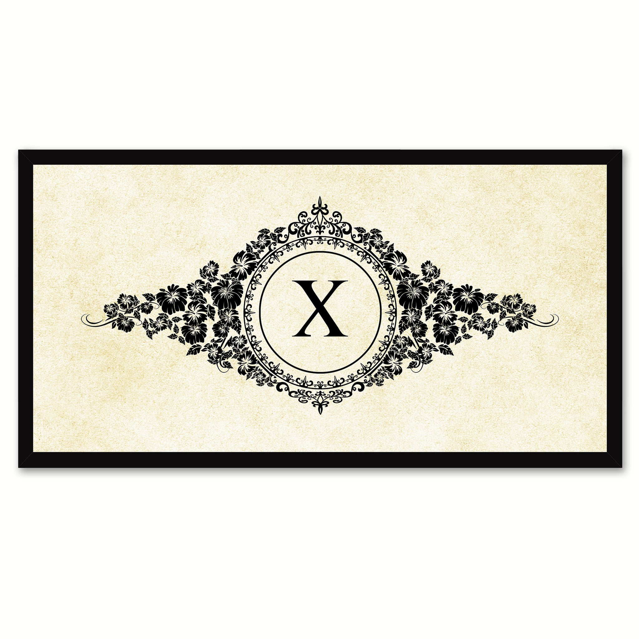 Alphabet Letter X White Canvas Print, Black Custom Frame