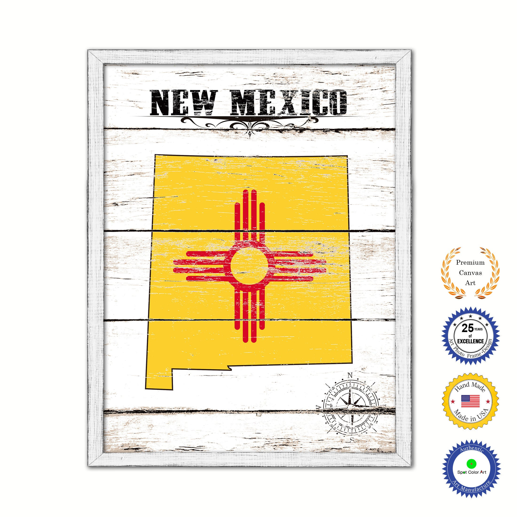 New Mexico State Shabby Chic Flag Home Decor Office Wall Art ...