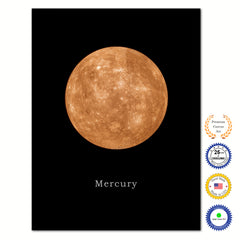 Mercury Print on Canvas Planets of Solar System Black Custom Framed Art Home Decor Wall Office Decoration