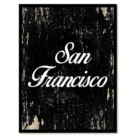 San Francisco City Vintage Sign Black Framed Canvas Print Home Decor Wall Art Collectible Decoration Artwork Gifts