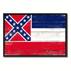 Mississippi State Flag Vintage Canvas Print with Black Picture Frame Home DecorWall Art Collectible Decoration Artwork Gifts