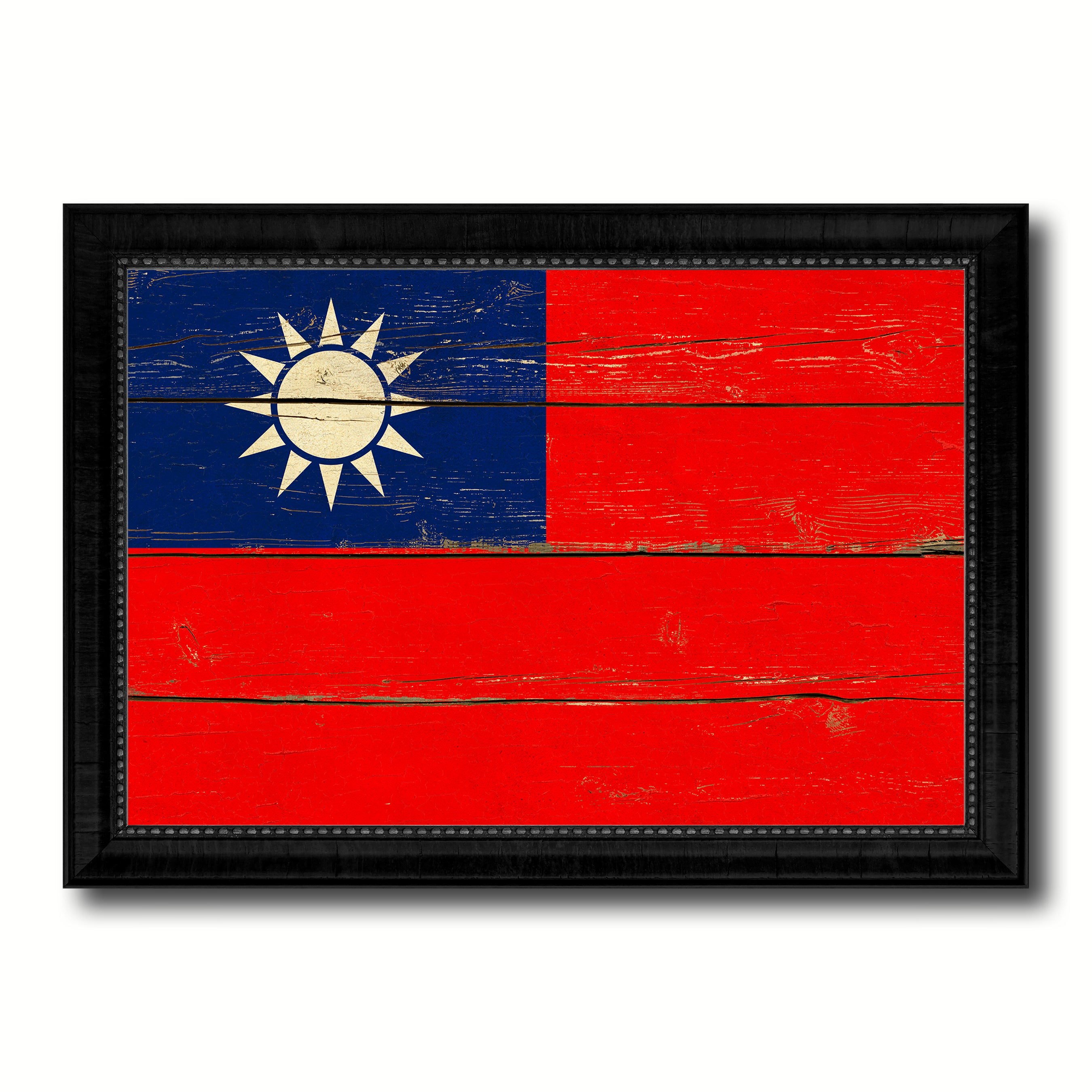 Taiwan Country Flag Vintage Canvas Print with Black Picture Frame Home Decor Gifts Wall Art Decoration Artwork