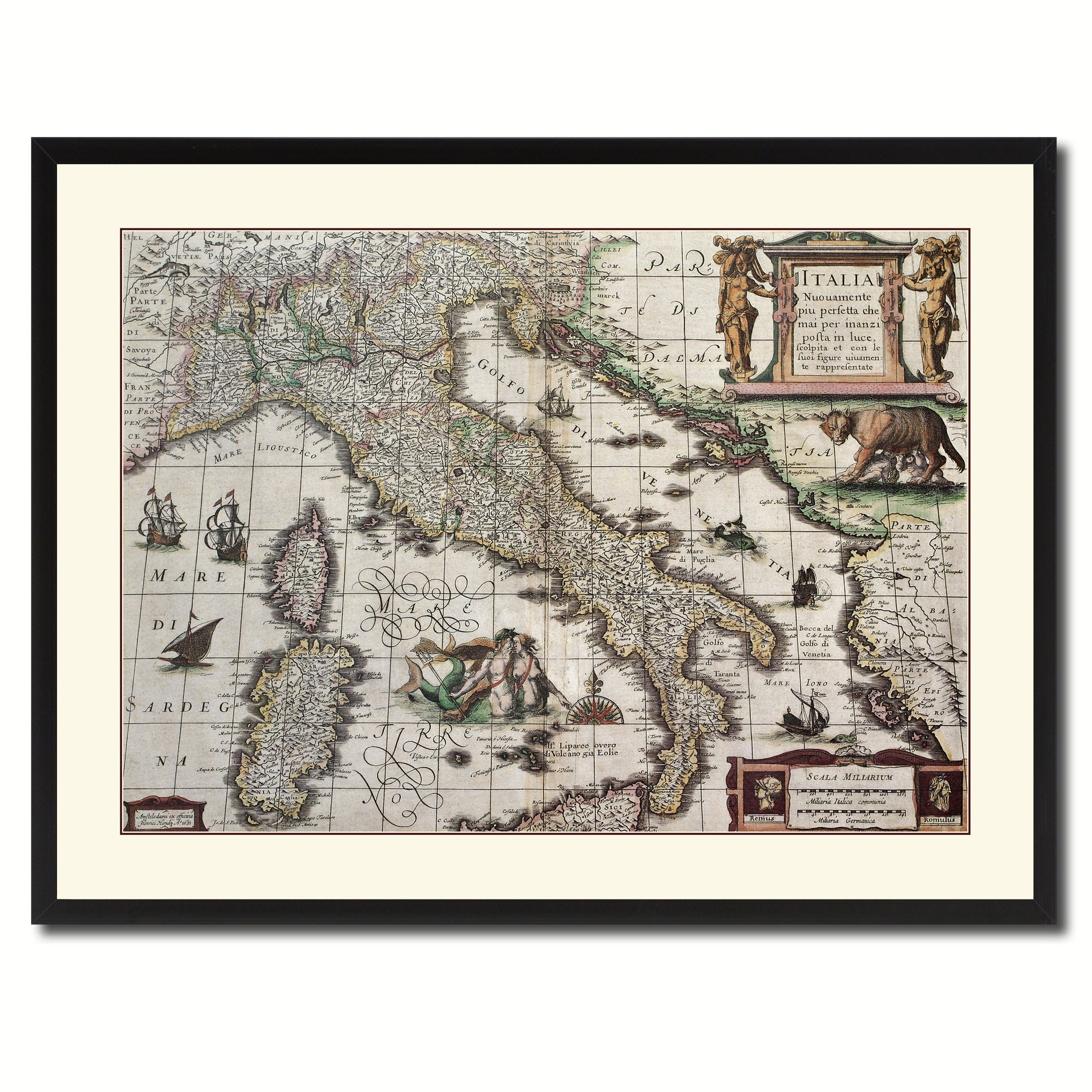Italy vintage antique map wall art home decor gift ideas for Home interiors and gifts framed art