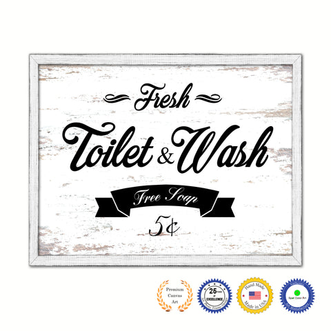 Fresh Toilet & Wash Vintage Sign Gifts Home Decor Wall Art Canvas Print with Custom Picture Frame