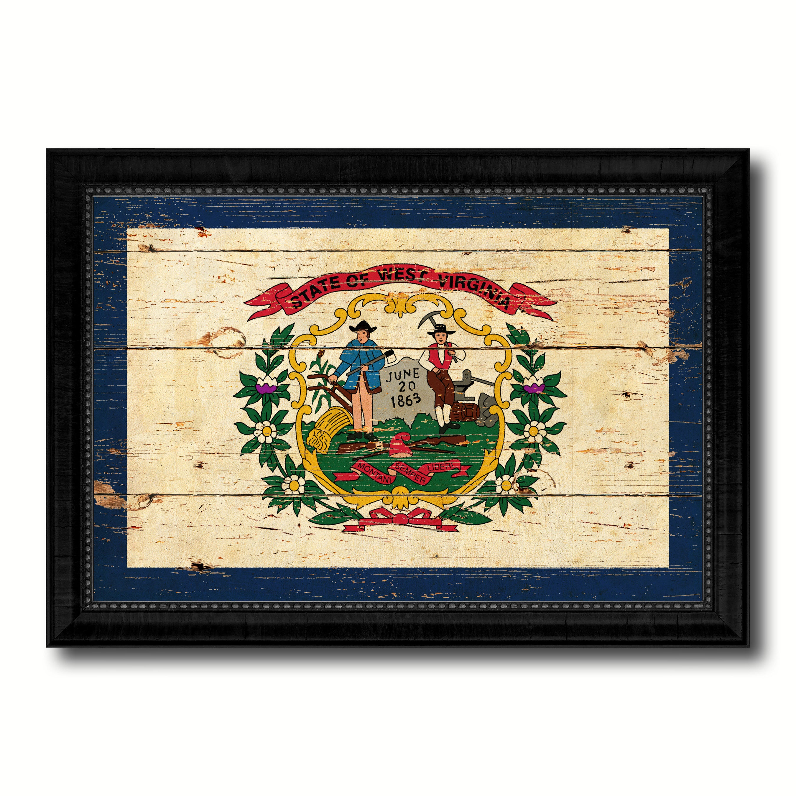 West Virginia State Vintage Flag Canvas Print with Black Picture ...