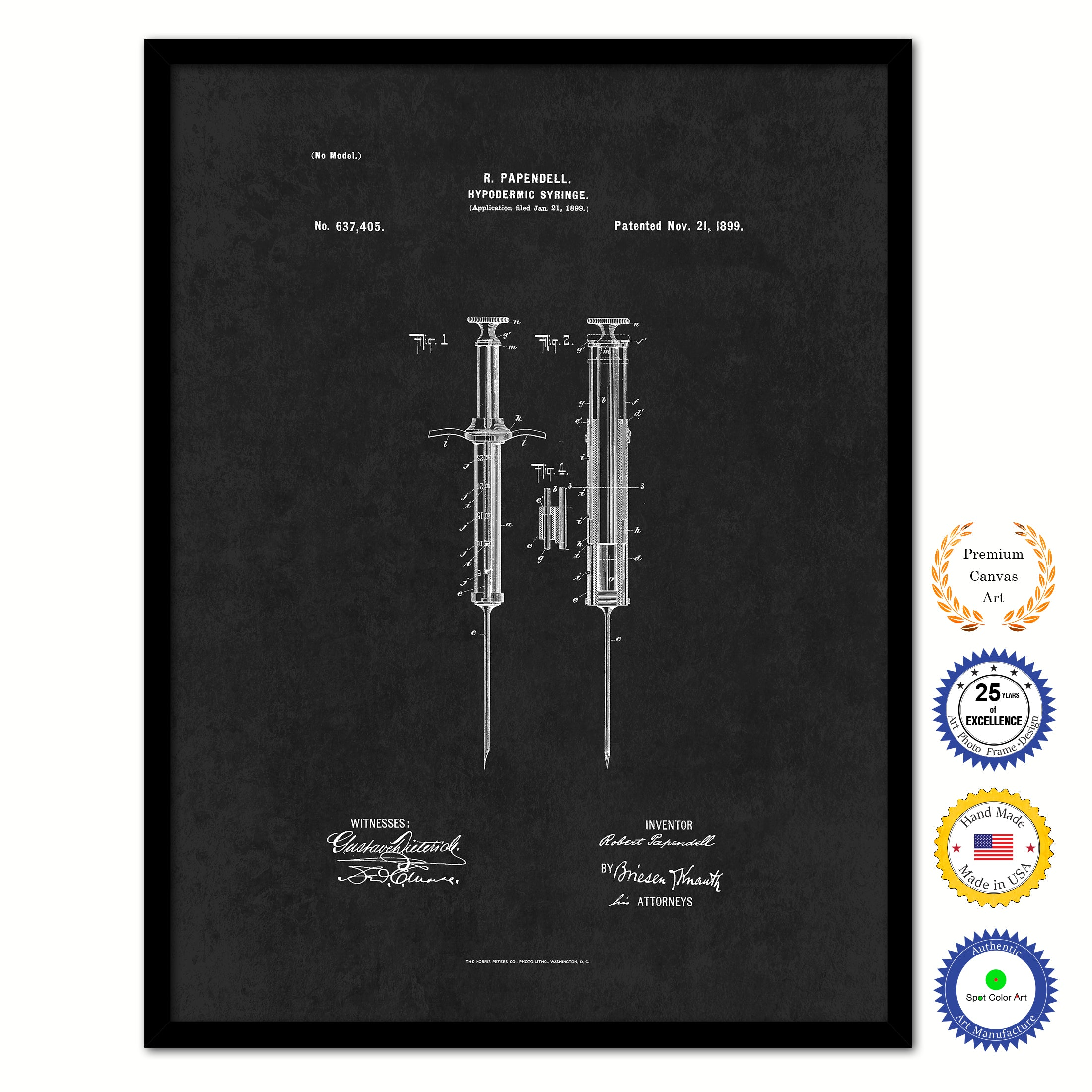 1899 Doctor Hypodermic Syringe Vintage Patent Artwork Black Framed Canvas Home Office Decor Great for Doctor Paramedic Surgeon Hospital Medical Student