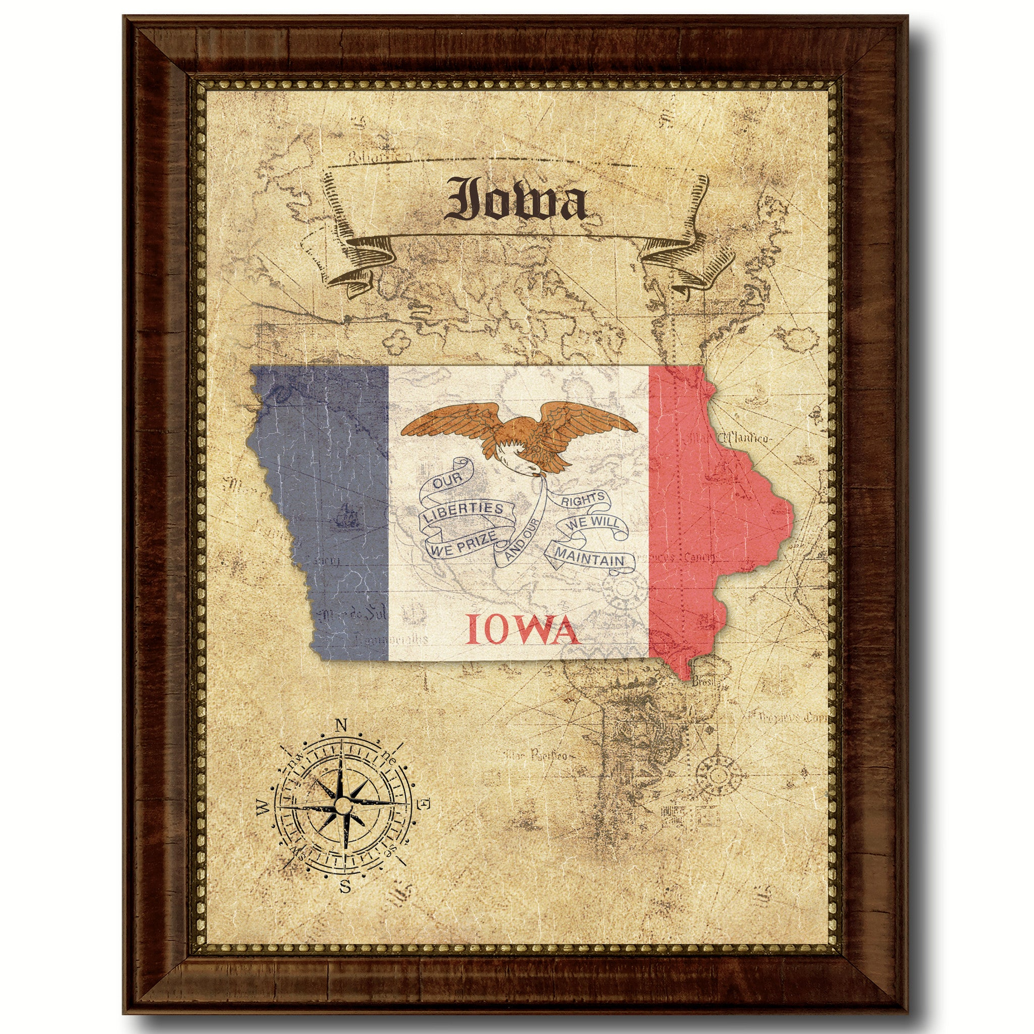 Iowa State Vintage Map Home Decor Wall Art Office Decoration Gift Ideas