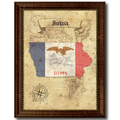 Iowa Vintage History Flag Canvas Print, Picture Frame Gift Ideas Home Décor Wall Art Decoration