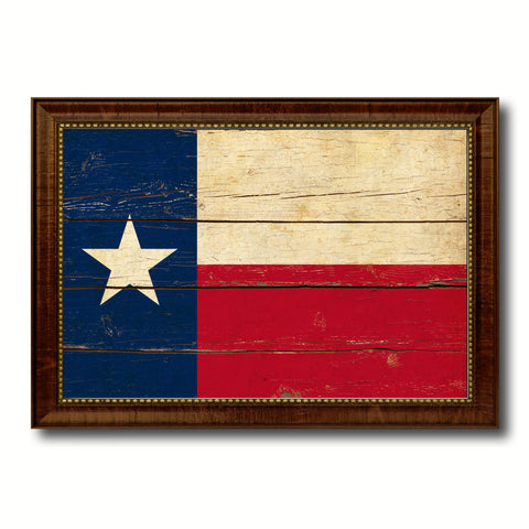 Texas State Vintage Flag Canvas Print with Brown Picture Frame Home Decor Man Cave Wall Art Collectible Decoration Artwork Gifts