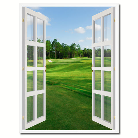 Fleming Island Golf Course Picture French Window Canvas Print with Frame Gifts Home Decor Wall Art Collection