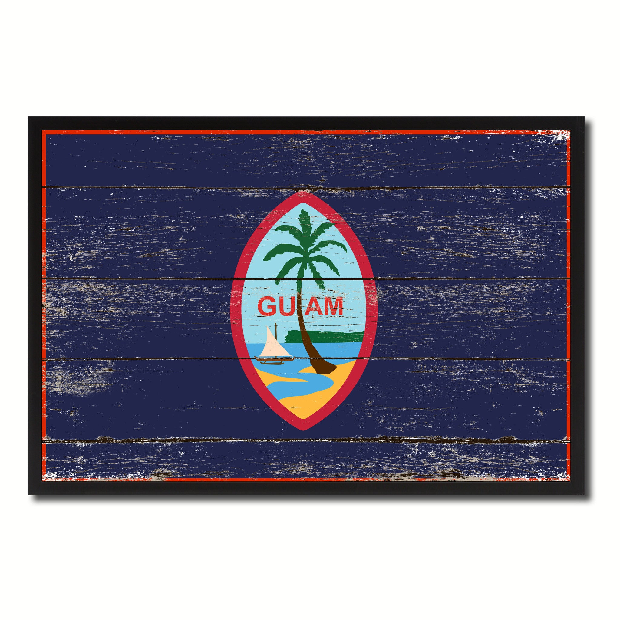 Guam US Territory Flag Vintage Canvas Print with Black Picture Frame Home Decor Wall Art Collectible Decoration Artwork Gifts