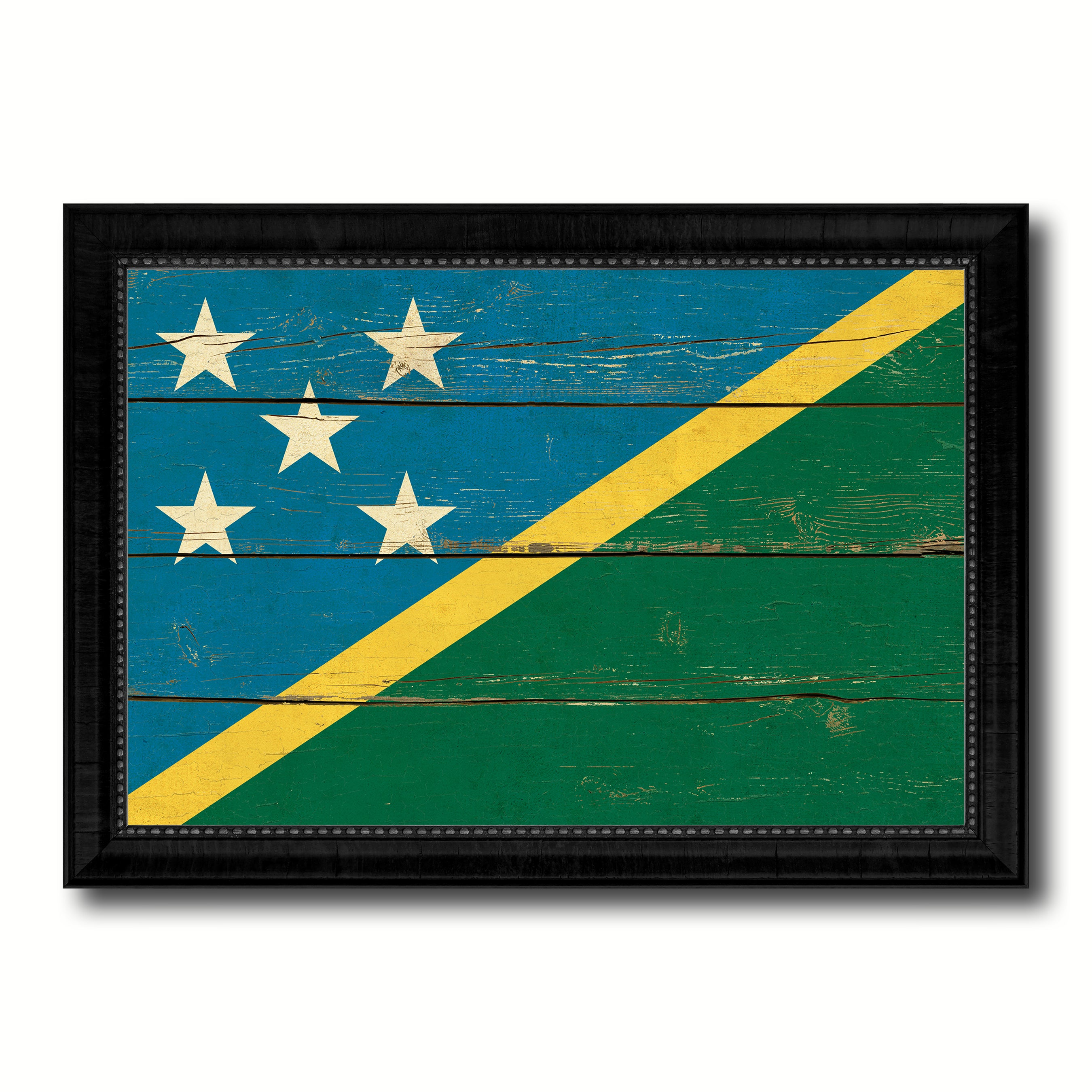 Solomon Island Country Flag Vintage Canvas Print with Black Picture Frame Home Decor Gifts Wall Art Decoration Artwork