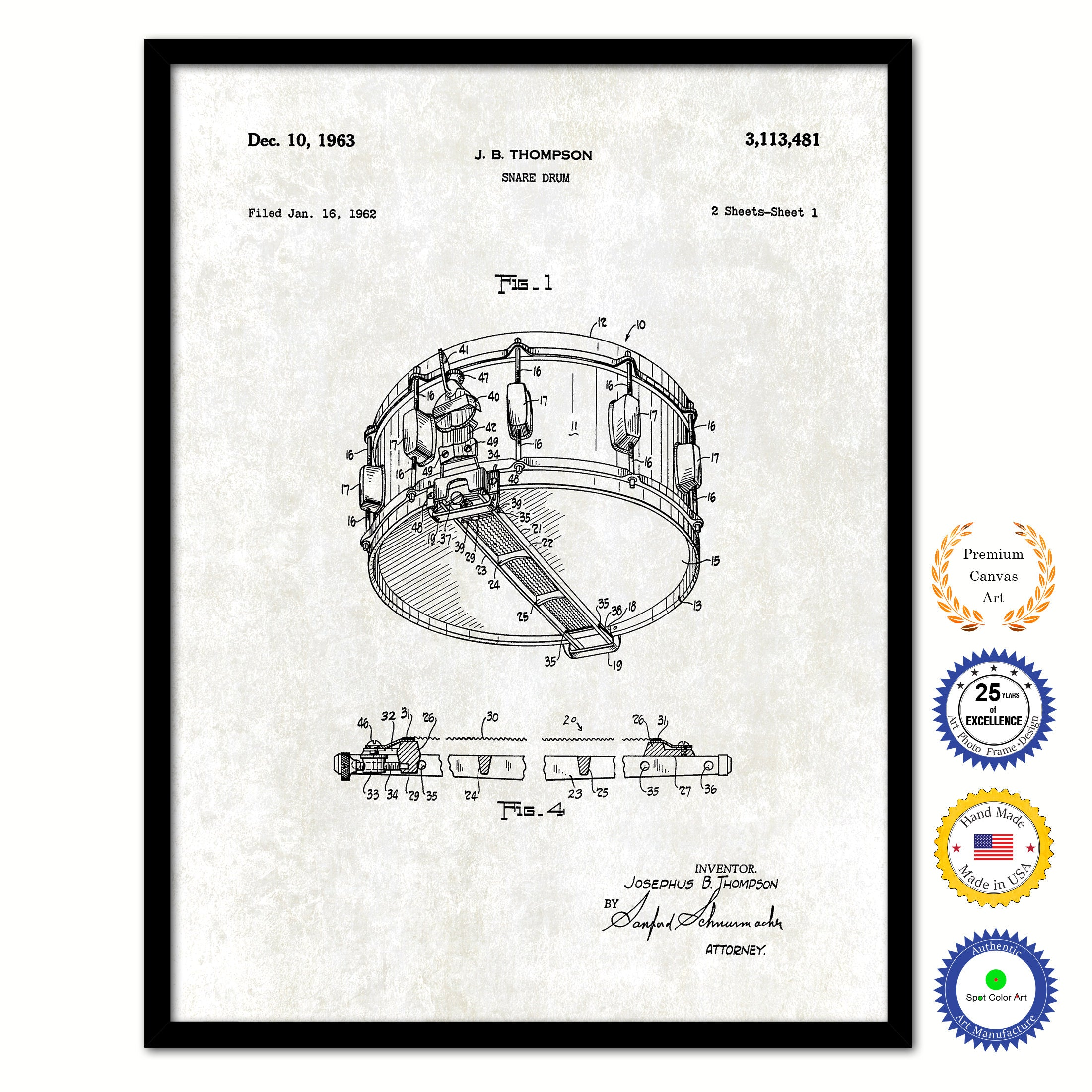 1963 Snare Drum Vintage Patent Artwork Black Framed Canvas Print Diagram Old Art On Custom Home Decor Wall Decoration Great For Gifts