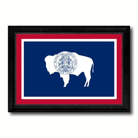 Wyoming State Flag Canvas Print with Custom Black Picture Frame Home Decor Wall Art Decoration Gifts